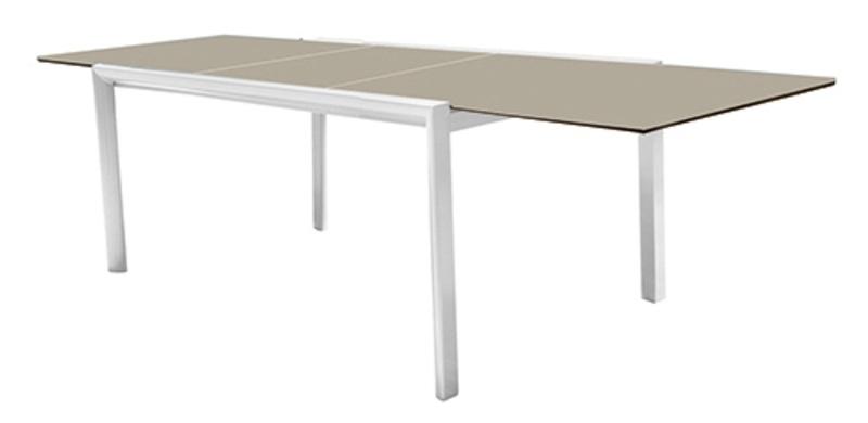 Mesa Themis aluminio blanco cristal capuccino 150-225x104