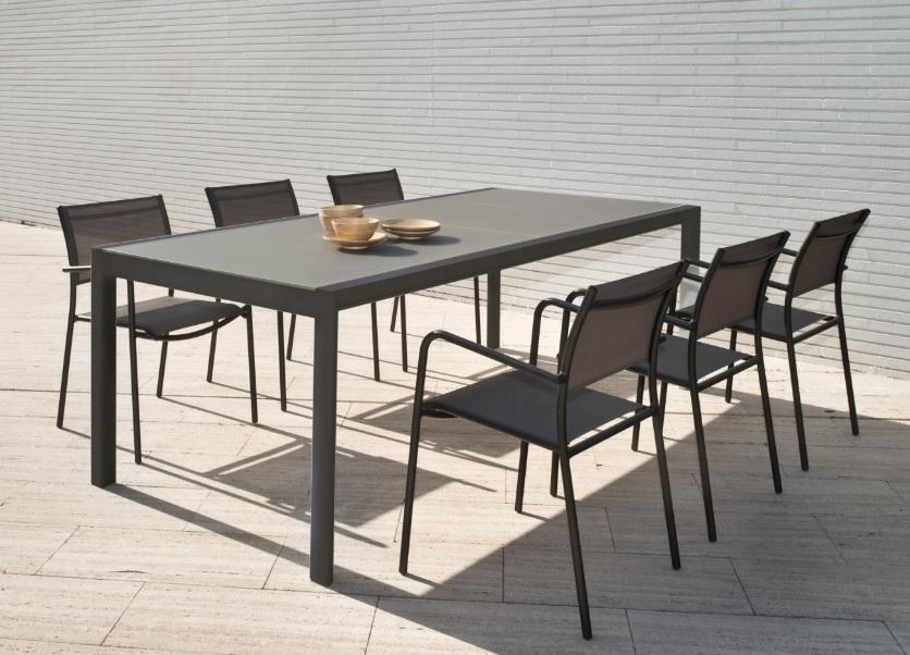 Mesa de terraza extensible Themis aluminio mocca 150-225x104