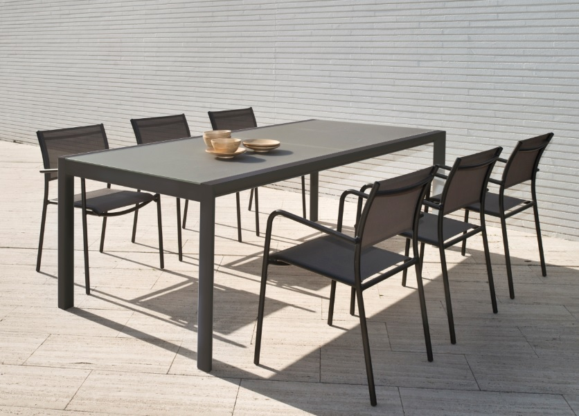 Mesa extensible Themis aluminio mocca 220-330x104