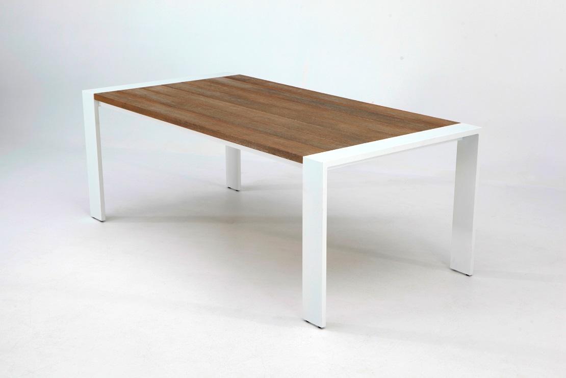 Mesa de terraza Tunez madera aluminio blanco 200x100