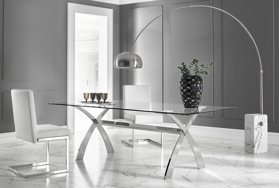 Mesa de comedor acero inox cristal 160x106 cm DT-18