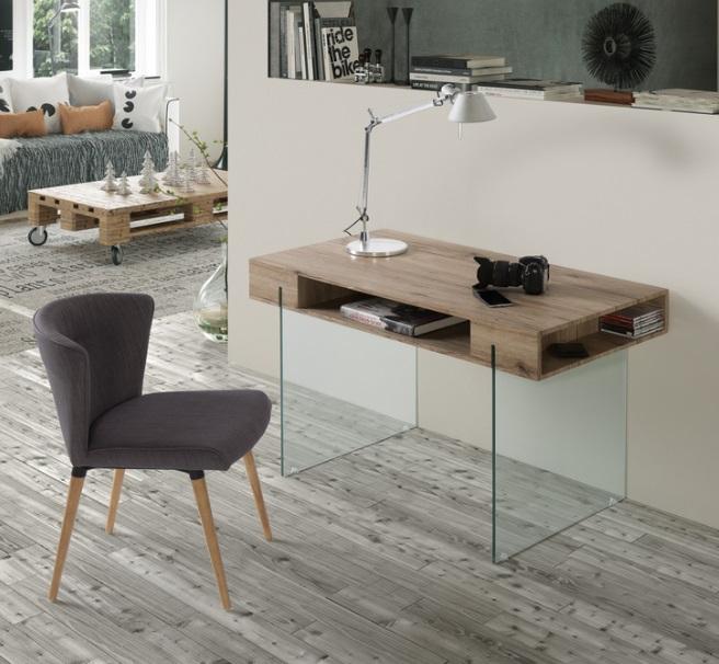 Mesa escritorio roble cristal celine 120x60