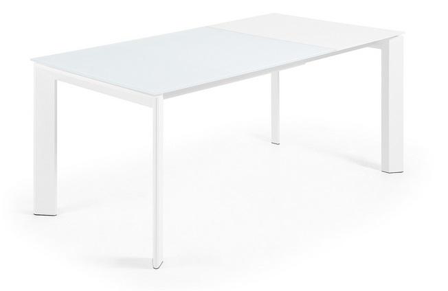 Mesa extensible cristal blanco Lam 120-180x80