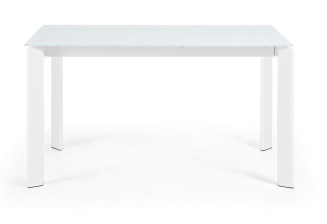 Mesa extensible cristal blanco Lam 140-200x90