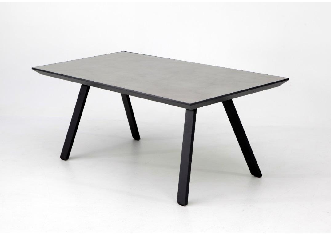 Mesa Pisa aluminio gris sobre ceramico gris 180x90