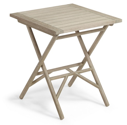 Mesa madera plegable patina gris envejecido 70x70