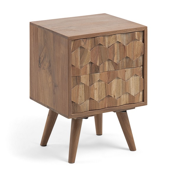 Mesita de noche madera acacia natural tallada