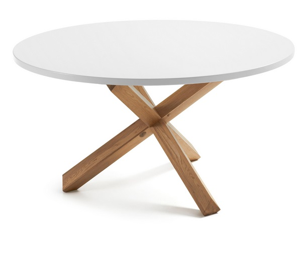 Mesa nordica redonda roble natural blanco mate 135cm