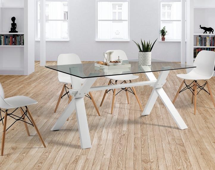Mesa de comedor nordica pies haya blanco cristal 150x90 cm