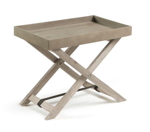 Mesa plegable madera acacia bandeja cemento 55x35