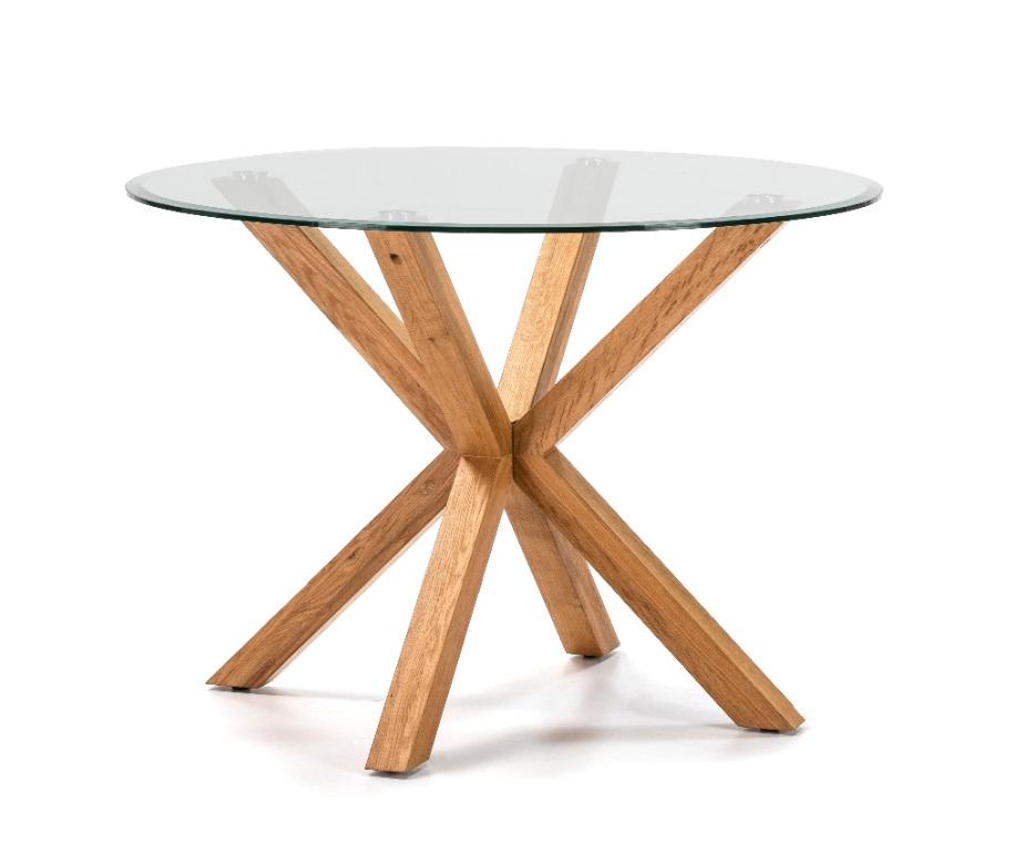 Mesa redonda madera y cristal 107 cm