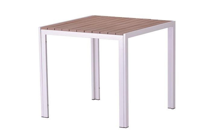 Mesa aluminio blanco lamas polywood natural Beach 80x80