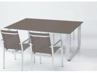 Mesa aluminio cristal taupe Esparta 170x100