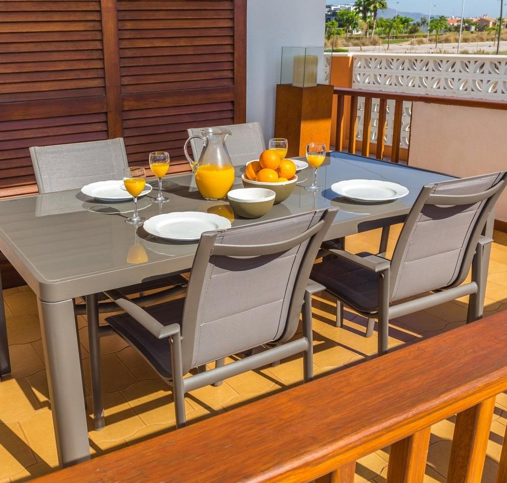 Conjunto de terraza alumnio tortora 6 sillas mesa 180x90