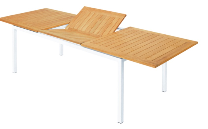 Mesa Essential extensible aluminio blanco teca 200-280x100