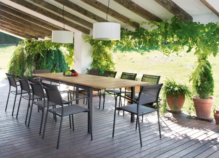 Conjunto terraza mesa extensible teca Essential 10 sillas polo
