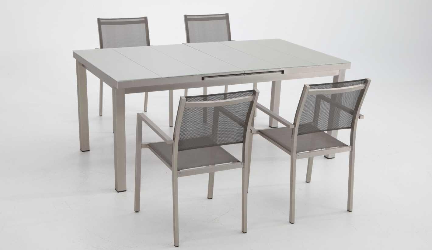 Conjunto de terraza y jardin aluminio anodizado karibu 4 sillas