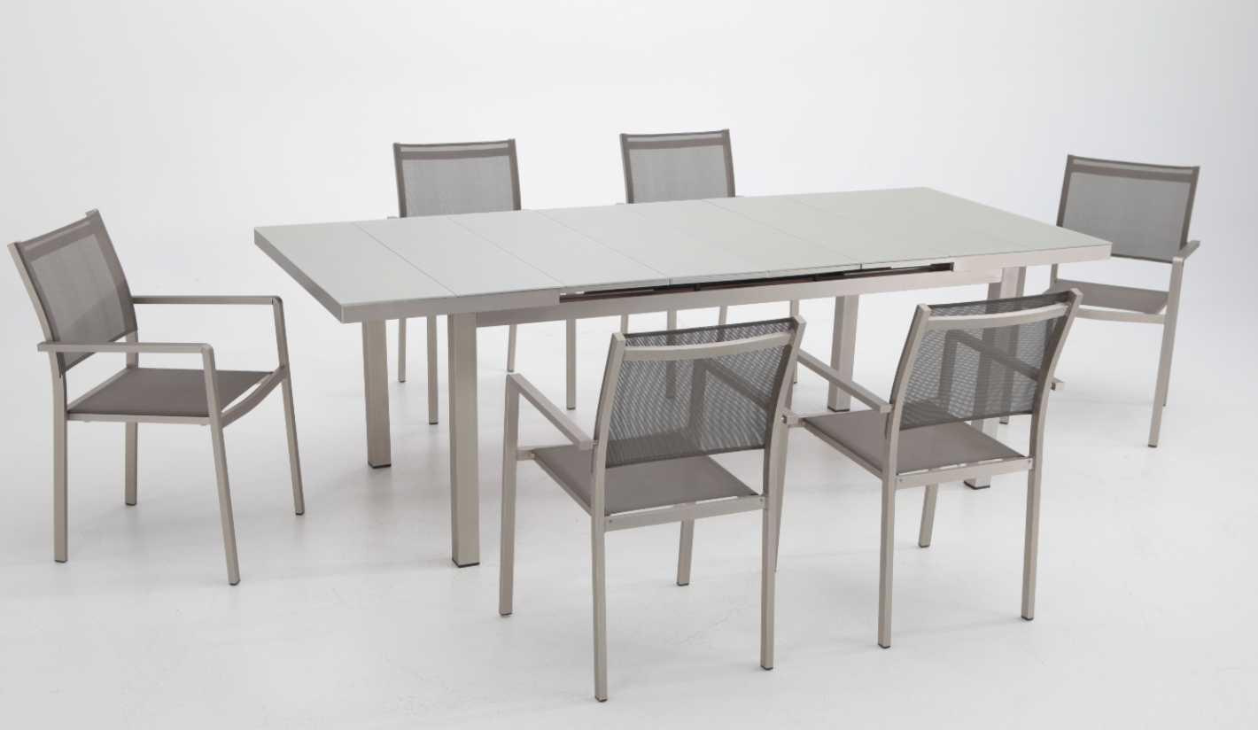 Conjunto de terraza y jardin aluminio anodizado karibu 6 sillas