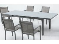 Mesa extensible aluminio gris Slat