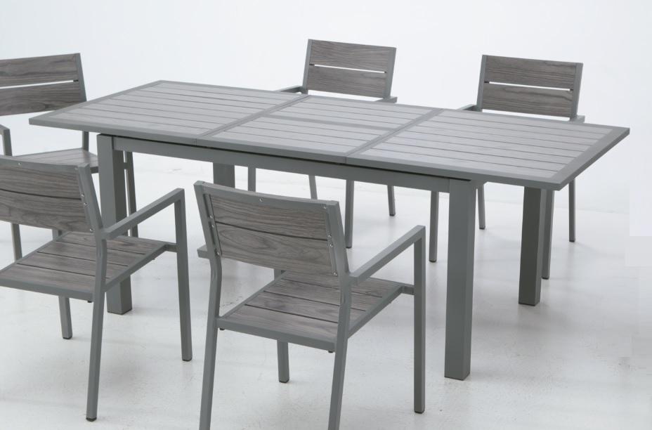 Conjunto de terraza aluminio lamas mesa plegable suez for Mesa 70x70 extensible