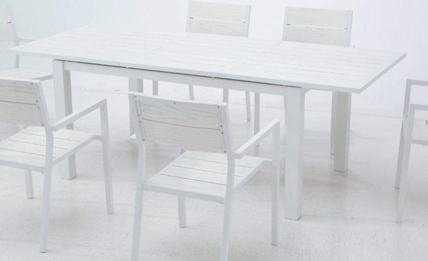 Mesa extensible aluminio lamas blanco Bengasi 150-210x95