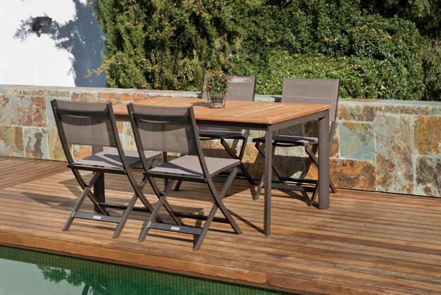 Conjunto de terraza neo Rosy teca aluminio mocca