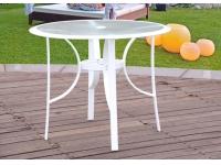 Mesa terraza redonda aluminio blanco ibiza 90