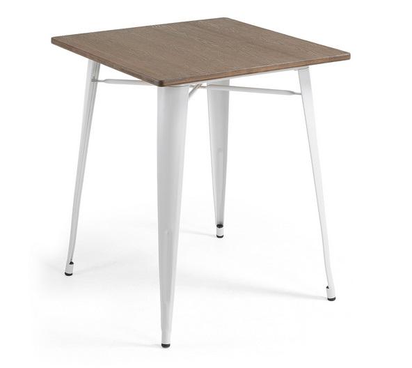 Mesa tolix bistro blanco sobre bambu 80x80