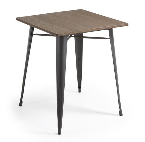 Mesa tolix bistro negro sobre bambu 80x80
