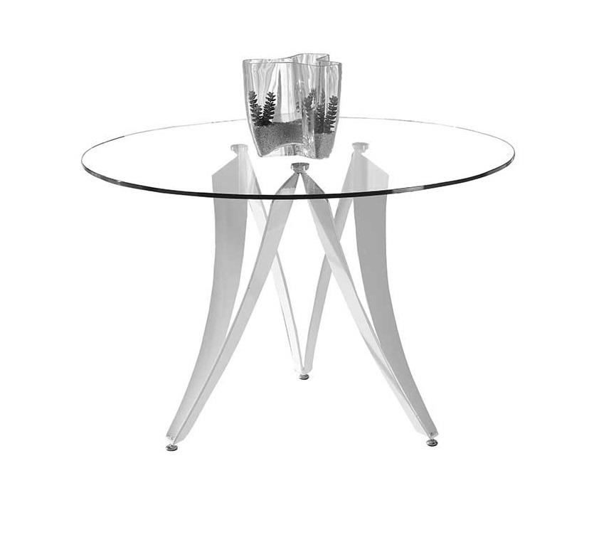 Mesa Venus redonda cristal acero blanco 120 cm
