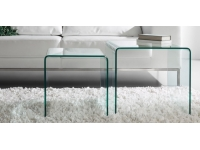 Set 2 mesas auxiliares nido cristal 50x50