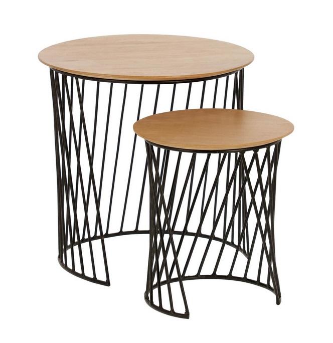 Set mesas nido Art madera natural acero negro