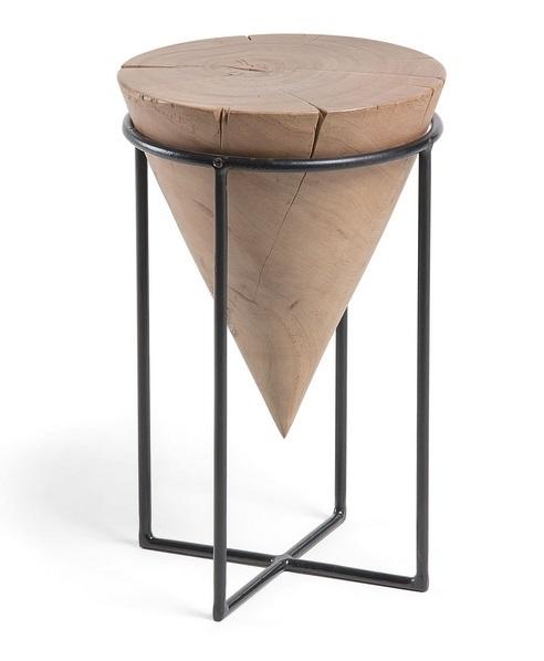 Mesa auxiliar cone metal acacia natural 50x31