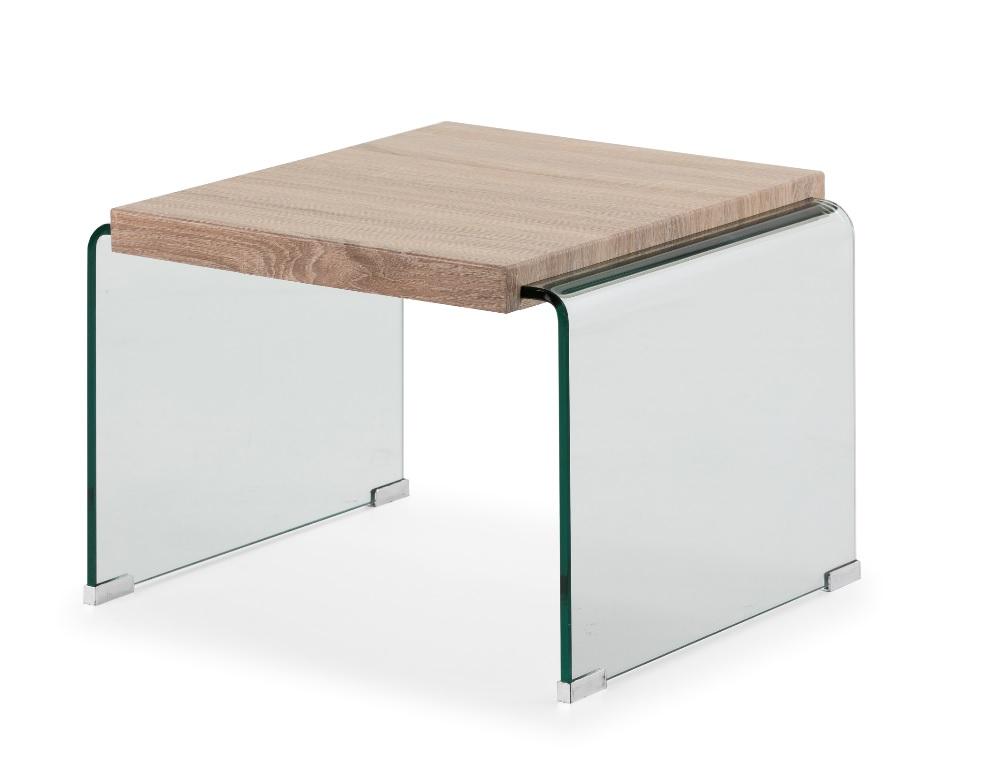 Mesa de rincon Sidney cristal roble 55x55