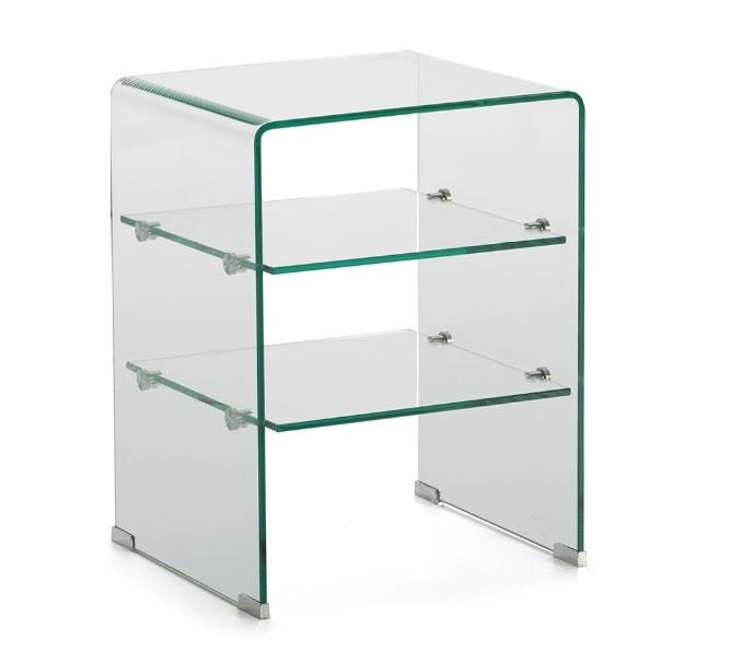 Mesa auxiliar cristal con baldas 45x60