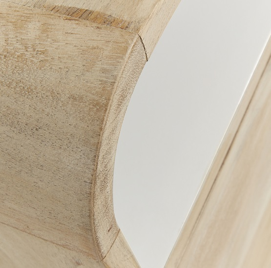 Mesita de noche retro madera natural blanco 60x40