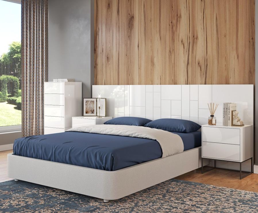 Cabezal madera Roxy lacado blanco brillo 280x110