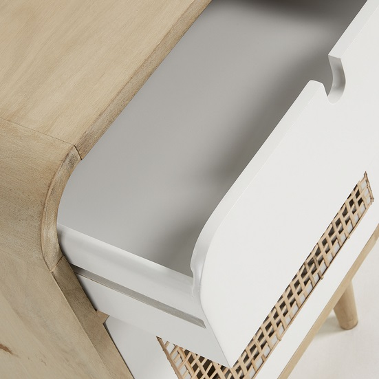 Mesita de noche vintage madera natural blanco ruzafa 60x40