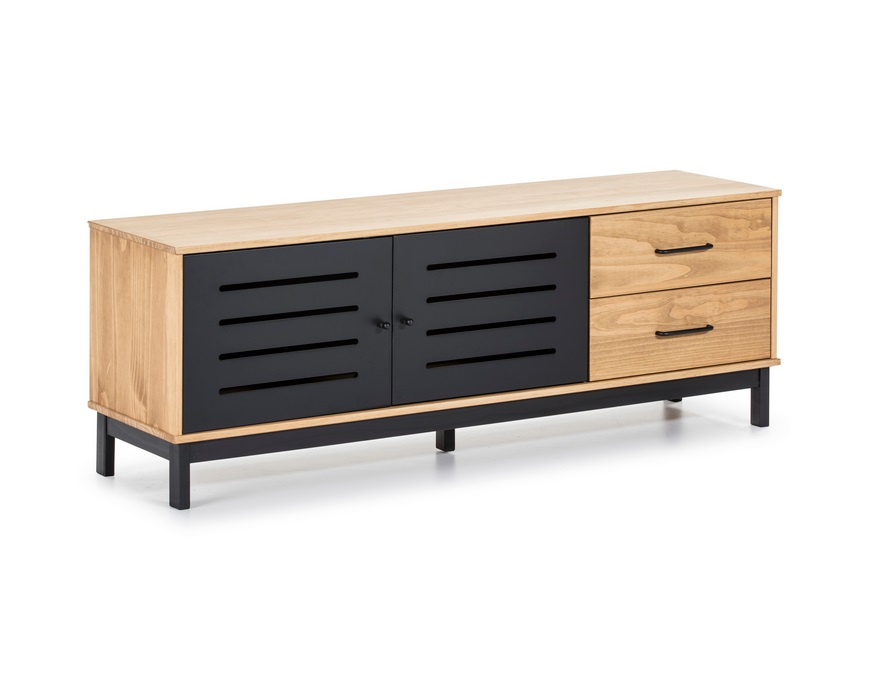 Mueble TV industrial alessia madera negro mate 140cm