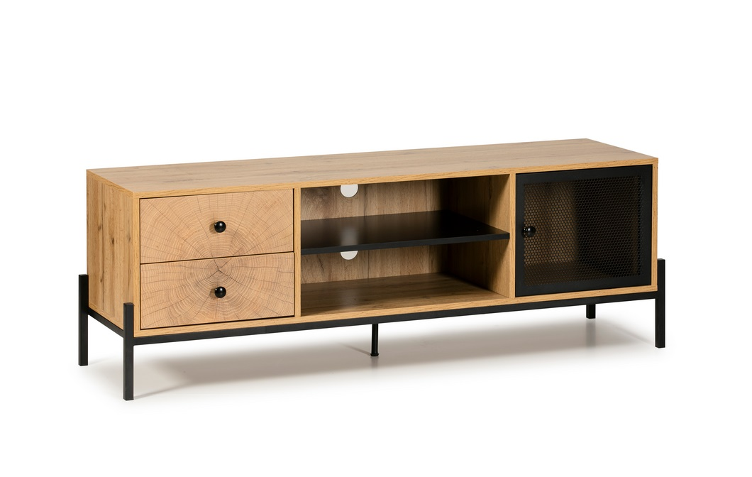 Mueble TV Andy roble rejilla metal negro 144cm
