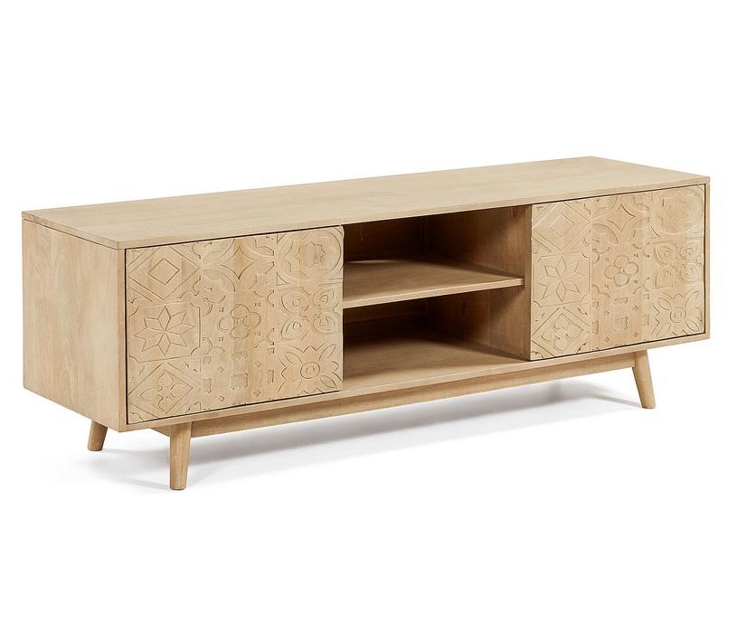 Mueble TV artisan madera tallada natural 160 cm