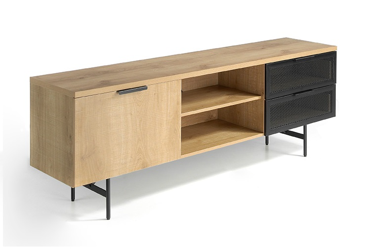Mueble TV Bruce roble chapa metalica negro 180 cm