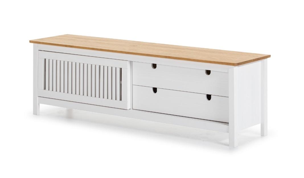 Mueble TV Bruna madera de pino blanco 158cm