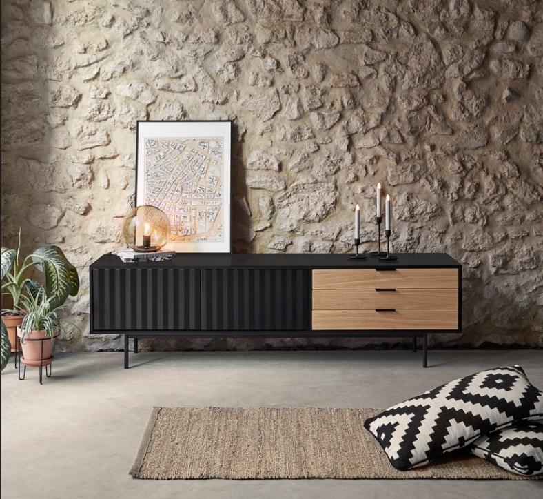 Mueble TV sierra negro roble 180