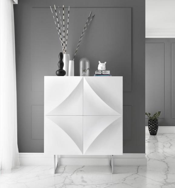 Aparador cubo minimalista blanco brillo W-101