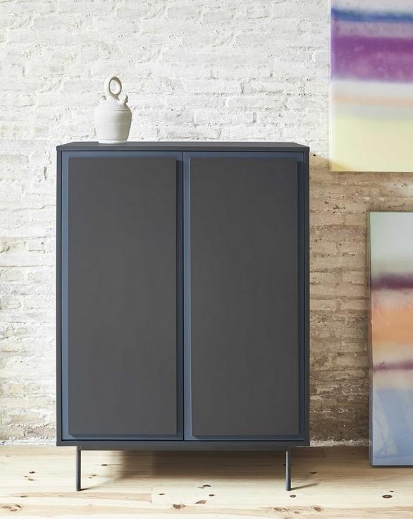 Mueble auxiliar forma 2 puertas negro azul