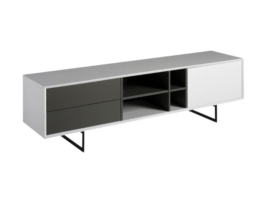 Mueble TV Elba blanco brillo gris mate