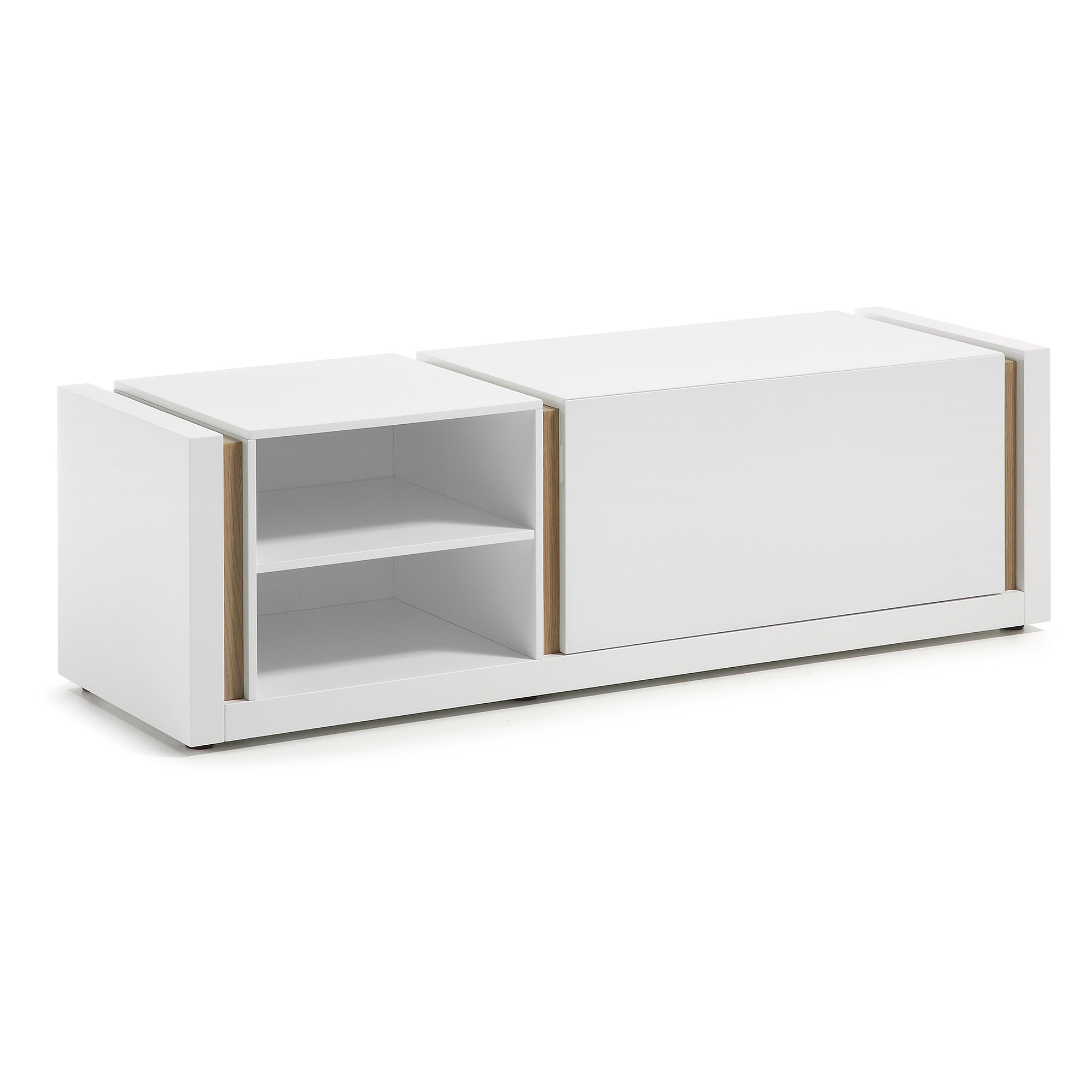 Mueble TV nordic blanco mate roble 140