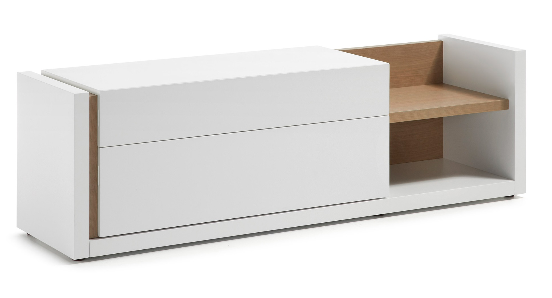 Mueble TV nordic blanco mate roble