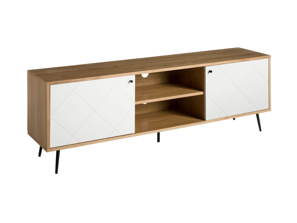 Mueble TV Forli blanco mate roble 176 cm